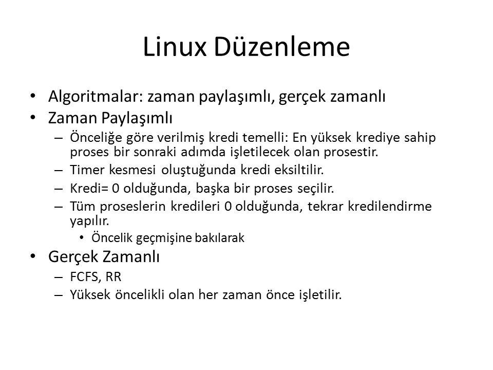 Linux Düzenleme Algoritmalar: zaman paylaşımlı, gerçek zamanlı