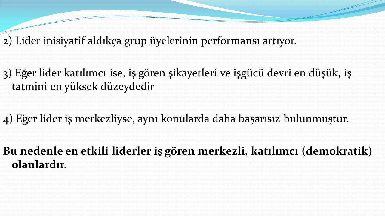 2) Lider inisiyatif aldıkça grup üyelerinin performansı artıyor.