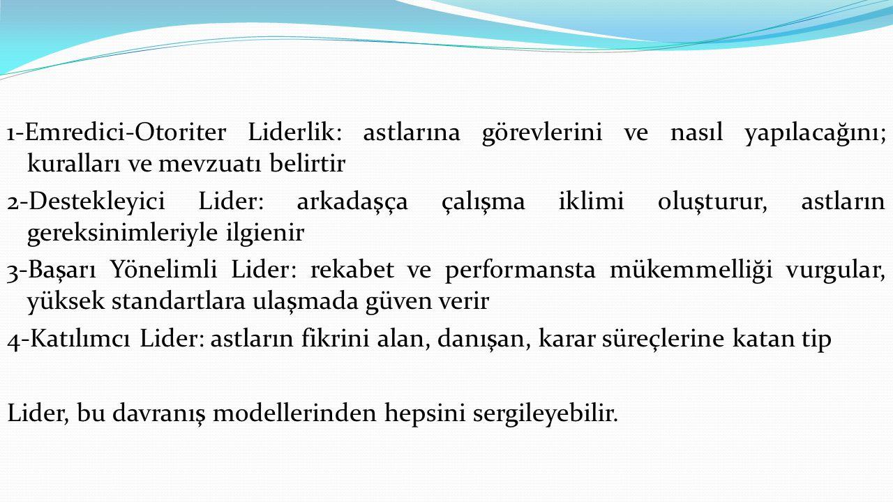 1-Emredici-Otoriter Liderlik: astlarına görevlerini ve nasıl yapılacağını; kuralları ve mevzuatı belirtir