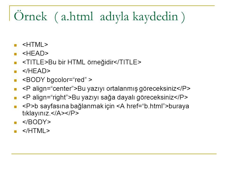 Örnek ( a.html adıyla kaydedin )