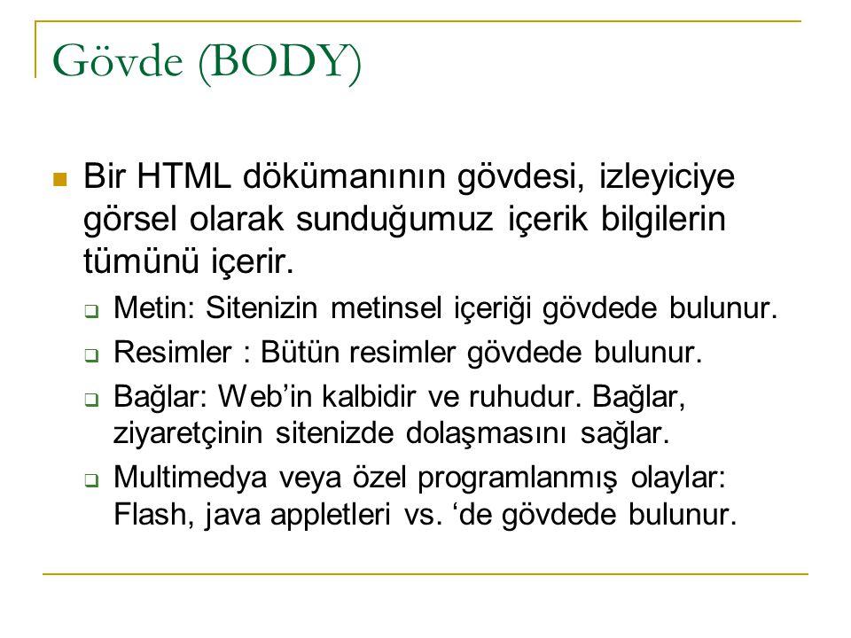 Gövde (BODY) Bir HTML dökümanının gövdesi, izleyiciye görsel olarak sunduğumuz içerik bilgilerin tümünü içerir.