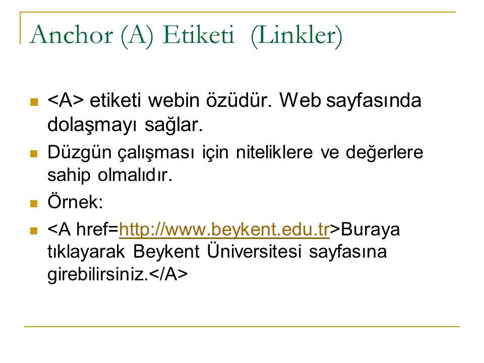 Anchor (A) Etiketi (Linkler)
