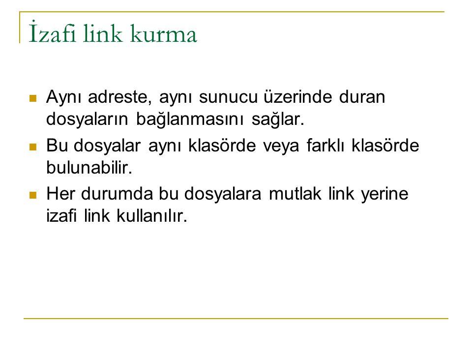 İzafi link kurma Aynı adreste, aynı sunucu üzerinde duran dosyaların bağlanmasını sağlar.