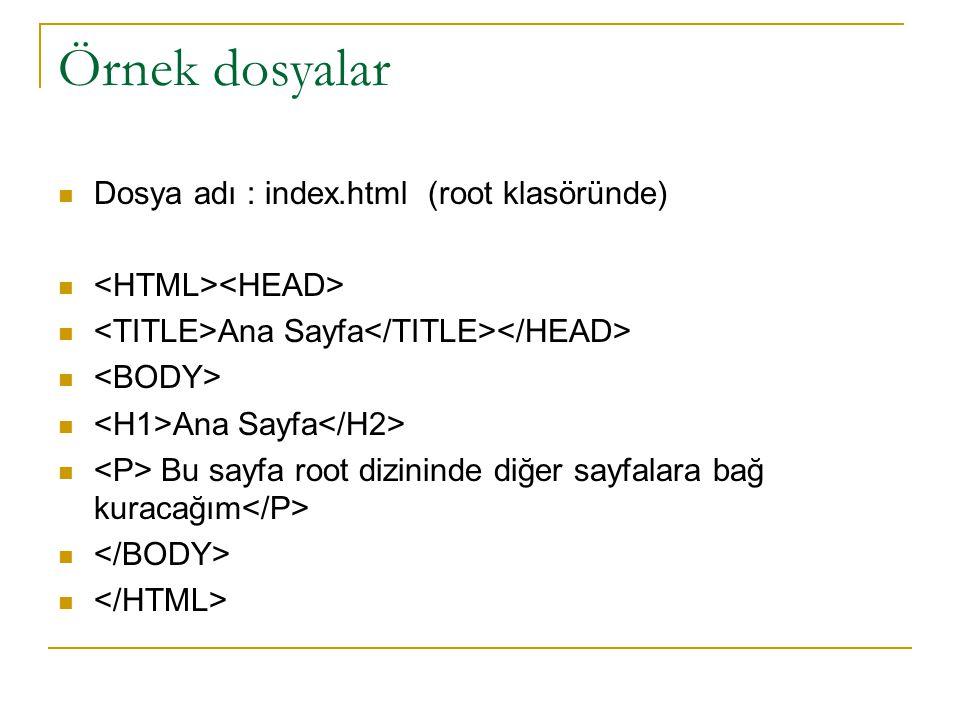Örnek dosyalar Dosya adı : index.html (root klasöründe)