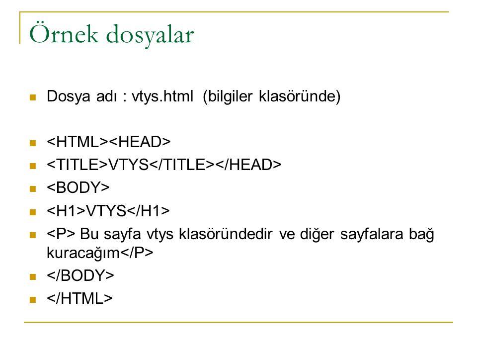 Örnek dosyalar Dosya adı : vtys.html (bilgiler klasöründe)