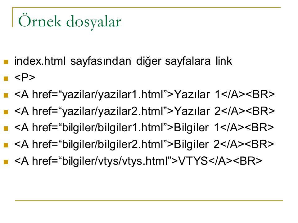 Örnek dosyalar index.html sayfasından diğer sayfalara link <P>