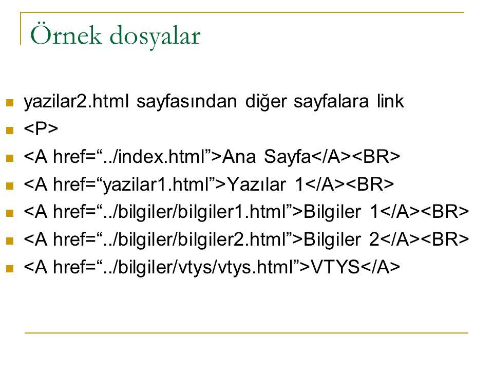 Örnek dosyalar yazilar2.html sayfasından diğer sayfalara link