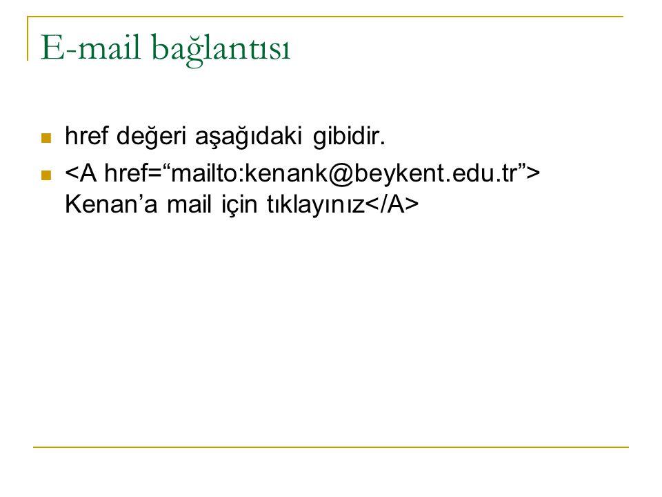 E-mail bağlantısı href değeri aşağıdaki gibidir.