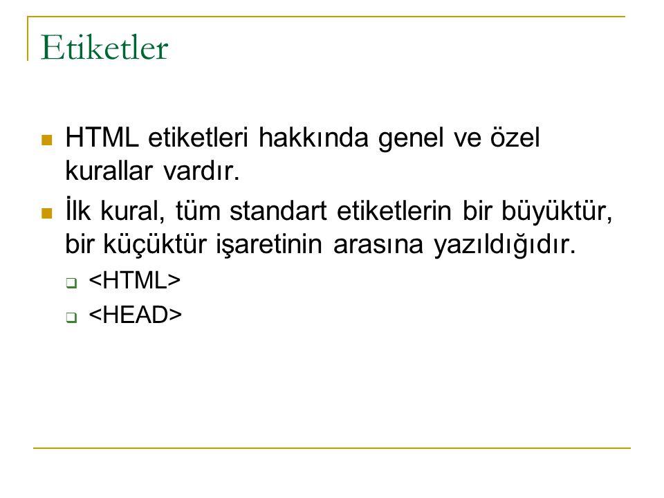 Etiketler HTML etiketleri hakkında genel ve özel kurallar vardır.