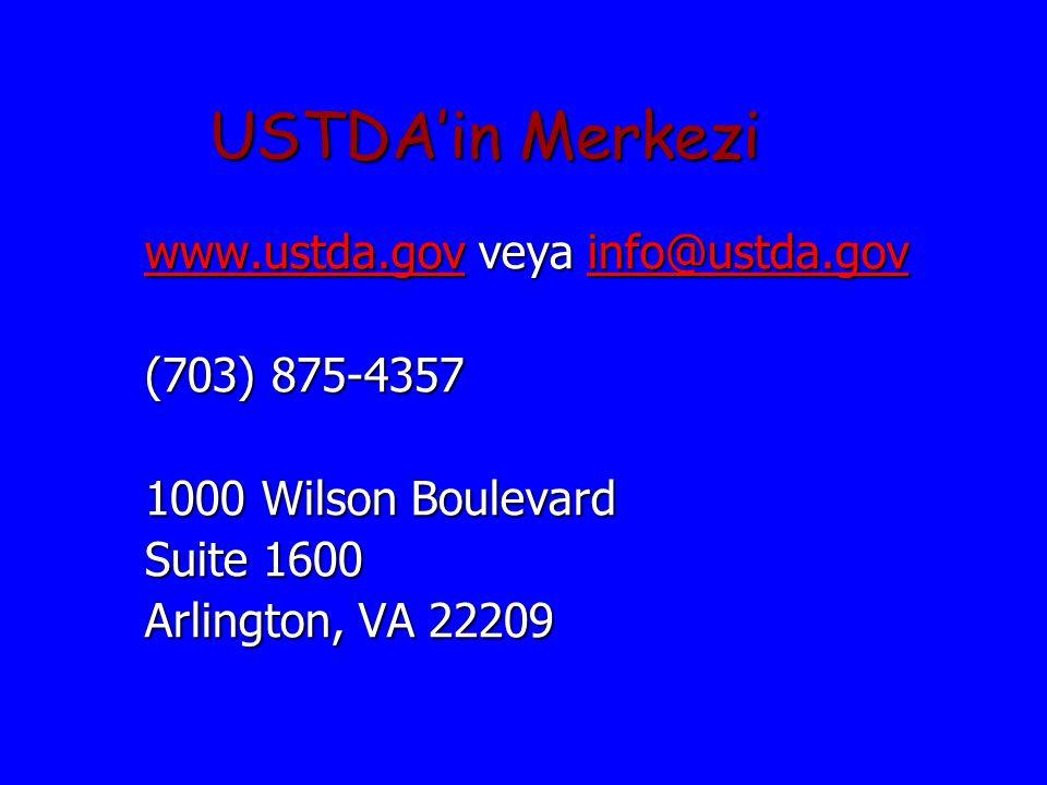 USTDA'in Merkezi www.ustda.gov veya info@ustda.gov (703) 875-4357