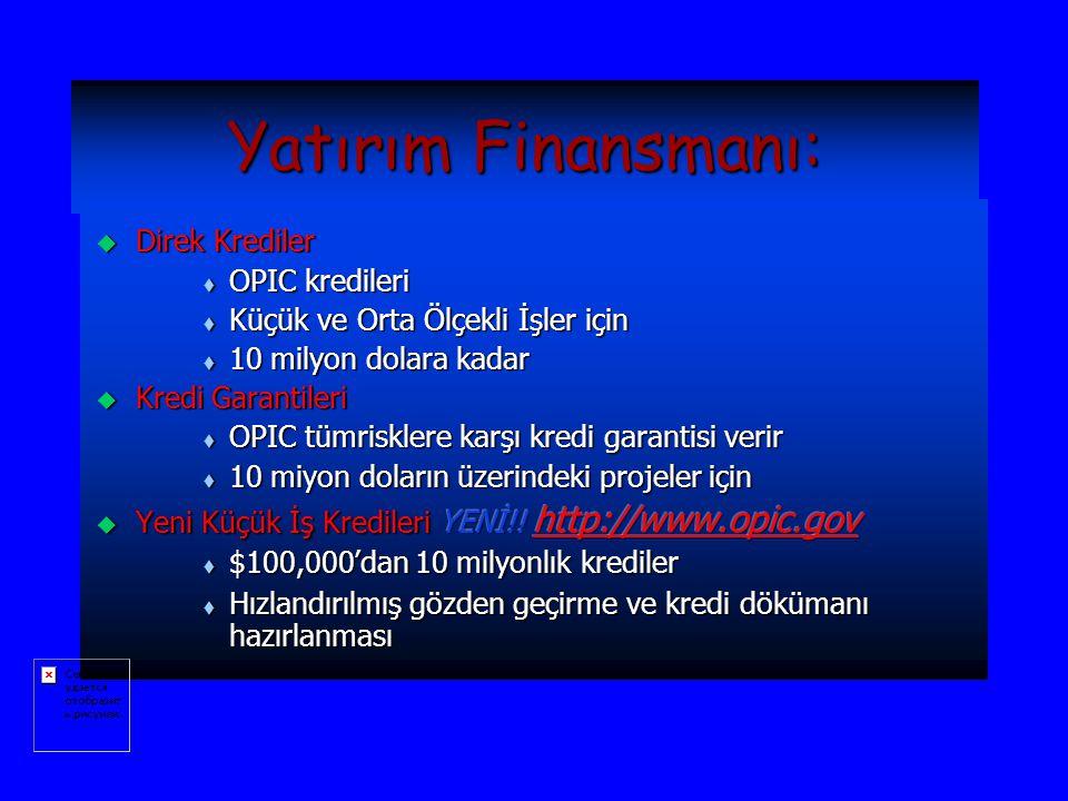Yatırım Finansmanı: Direk Krediler OPIC kredileri