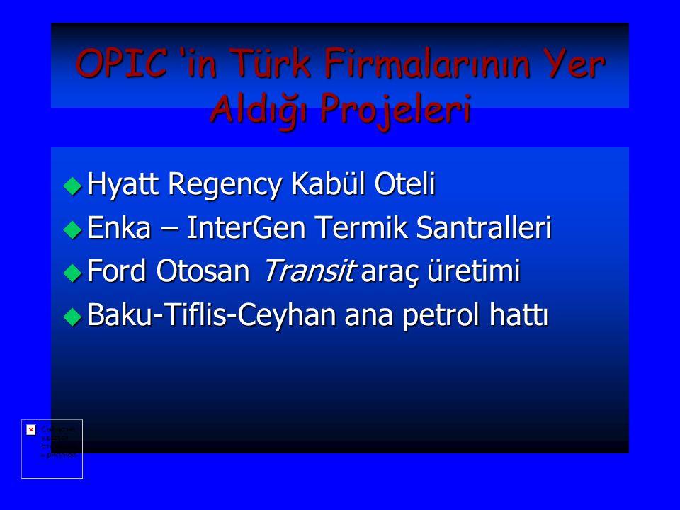 OPIC 'in Türk Firmalarının Yer Aldığı Projeleri