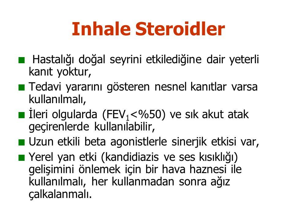 Inhale Steroidler Hastalığı doğal seyrini etkilediğine dair yeterli kanıt yoktur, Tedavi yararını gösteren nesnel kanıtlar varsa kullanılmalı,