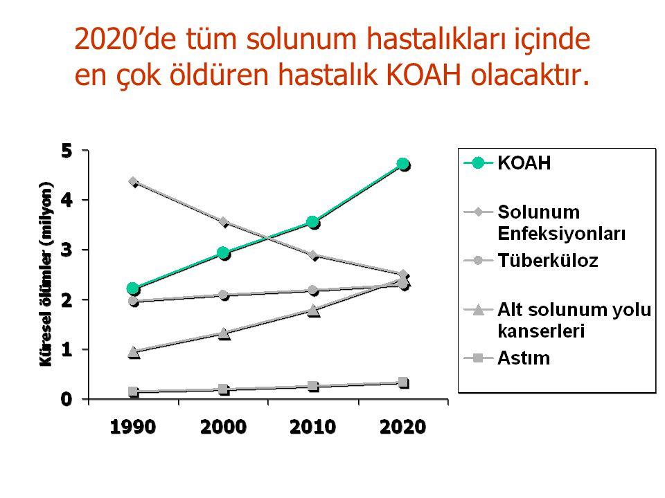 2020'de tüm solunum hastalıkları içinde en çok öldüren hastalık KOAH olacaktır.
