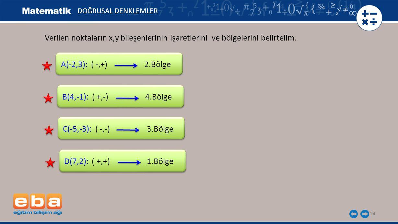 DOĞRUSAL DENKLEMLER Verilen noktaların x,y bileşenlerinin işaretlerini ve bölgelerini belirtelim. A(-2,3): ( -,+) 2.Bölge.