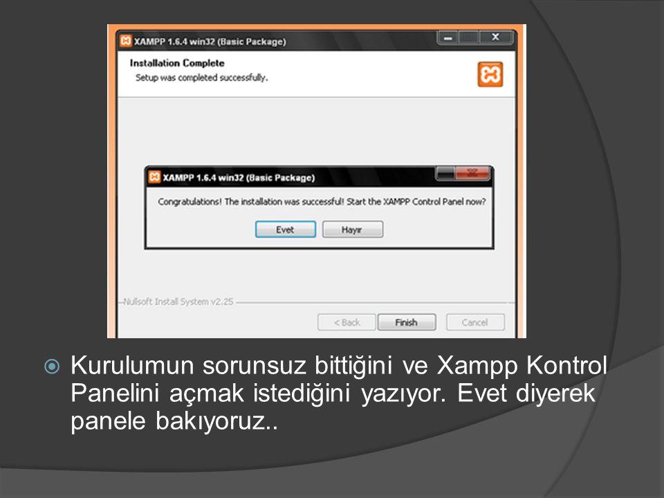 Kurulumun sorunsuz bittiğini ve Xampp Kontrol Panelini açmak istediğini yazıyor.