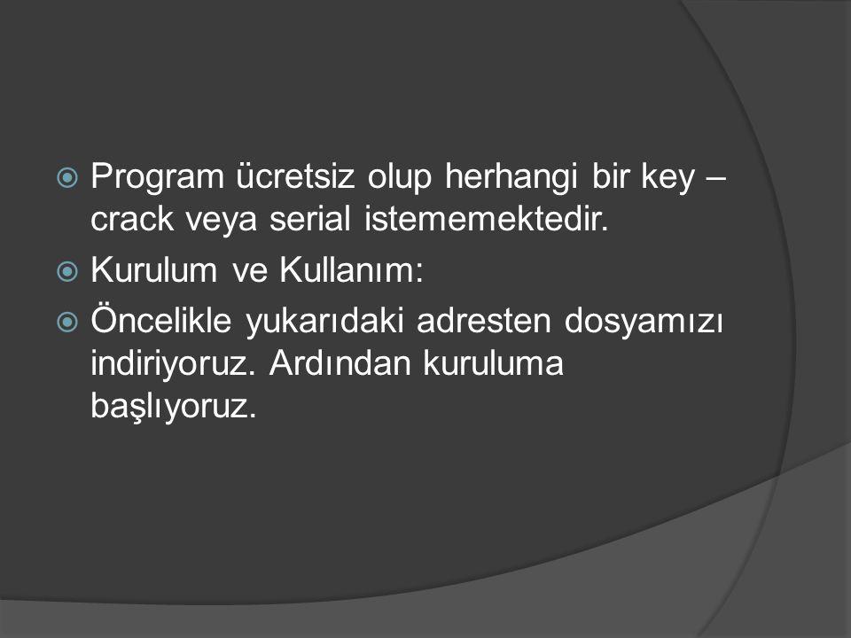 Program ücretsiz olup herhangi bir key – crack veya serial istememektedir.