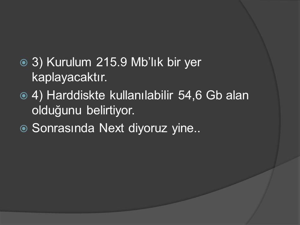 3) Kurulum 215.9 Mb'lık bir yer kaplayacaktır.