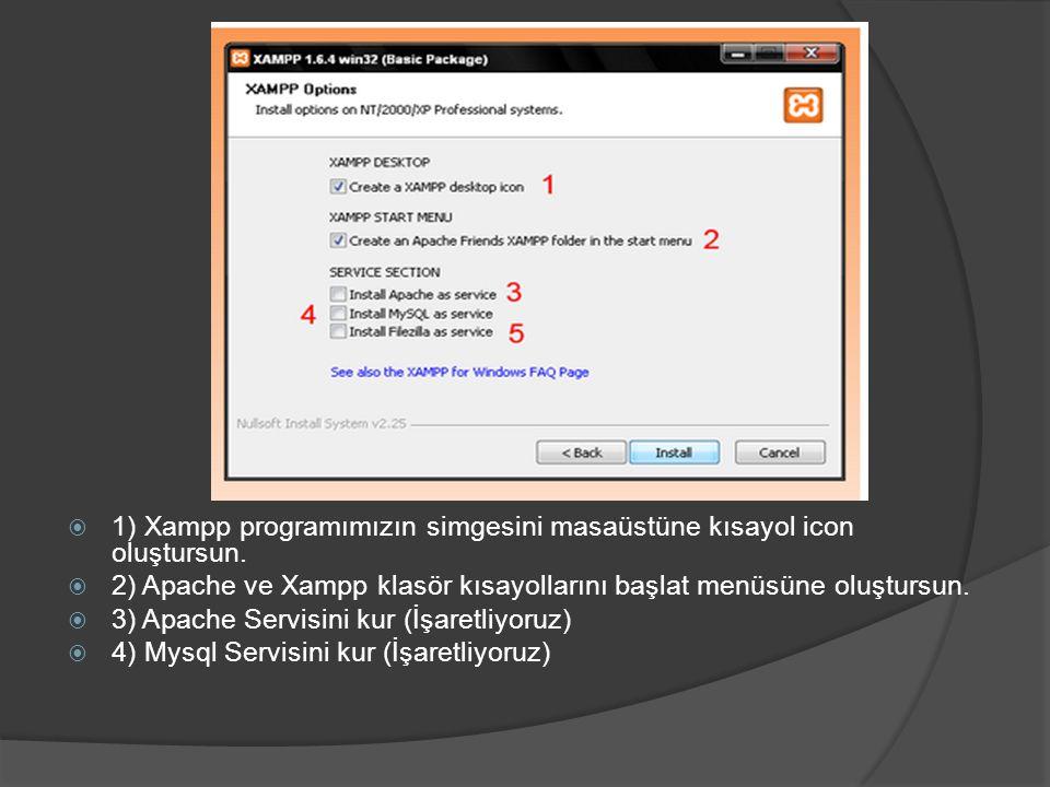 1) Xampp programımızın simgesini masaüstüne kısayol icon oluştursun.
