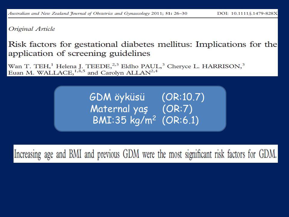 GDM öyküsü (OR:10.7) Maternal yaş (OR:7) BMI:35 kg/m2 (OR:6.1)