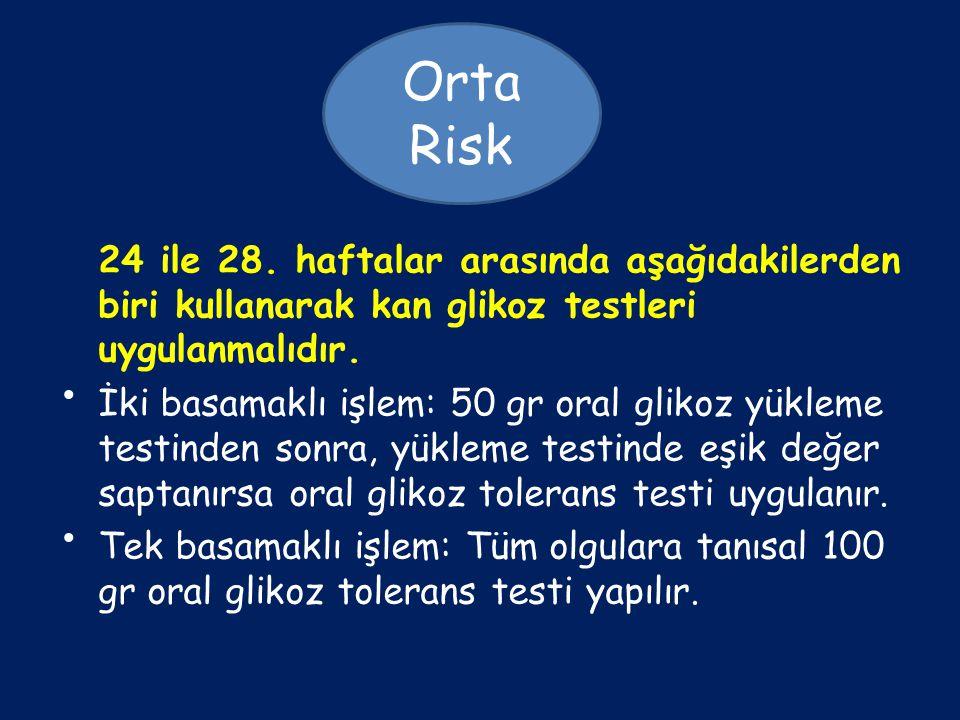 Orta Risk 24 ile 28. haftalar arasında aşağıdakilerden biri kullanarak kan glikoz testleri uygulanmalıdır.