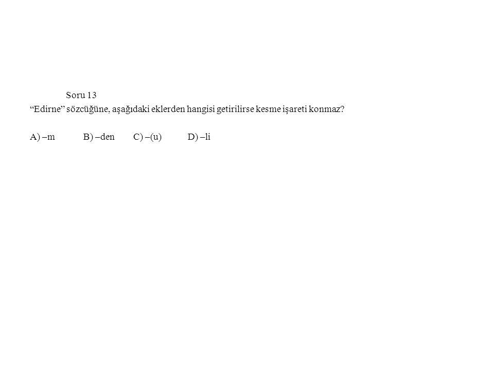 Soru 13 Edirne sözcüğüne, aşağıdaki eklerden hangisi getirilirse kesme işareti konmaz.