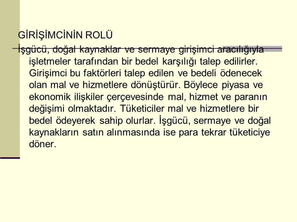 GİRİŞİMCİNİN ROLÜ