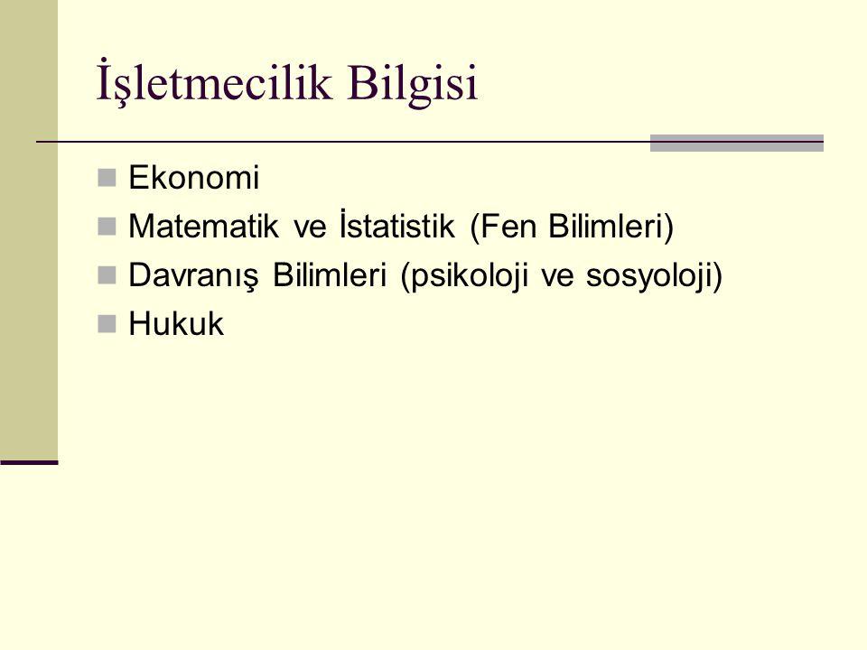 İşletmecilik Bilgisi Ekonomi Matematik ve İstatistik (Fen Bilimleri)