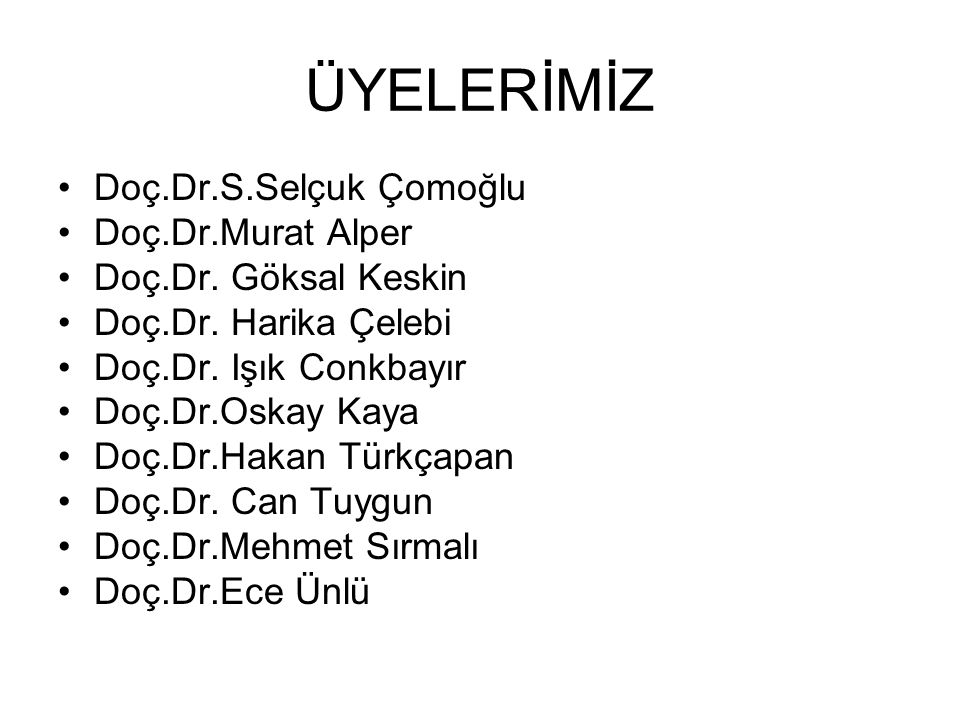 ÜYELERİMİZ Doç.Dr.S.Selçuk Çomoğlu Doç.Dr.Murat Alper