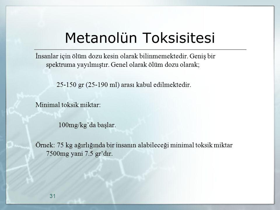Metanolün Toksisitesi