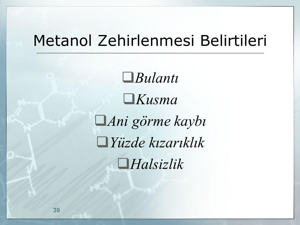 Metanol Zehirlenmesi Belirtileri