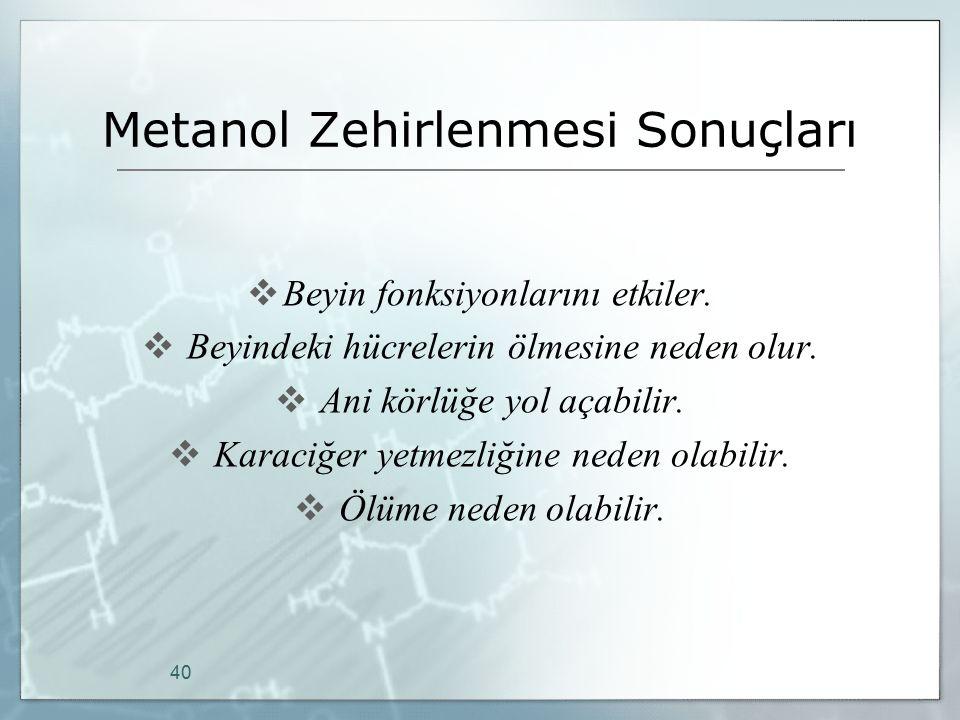 Metanol Zehirlenmesi Sonuçları