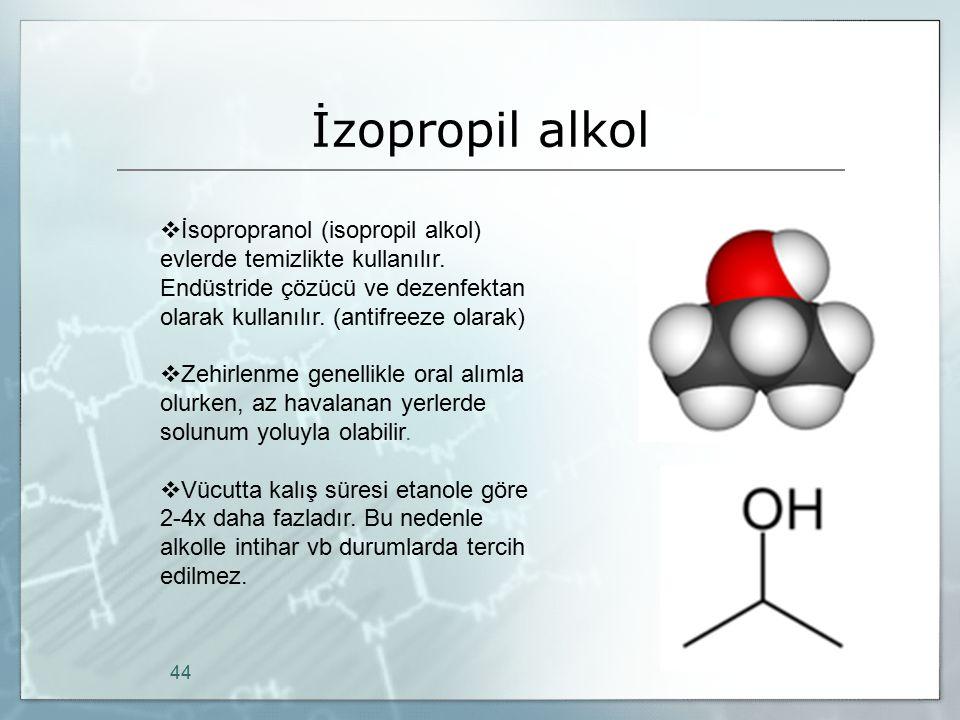 İzopropil alkol İsopropranol (isopropil alkol) evlerde temizlikte kullanılır. Endüstride çözücü ve dezenfektan olarak kullanılır. (antifreeze olarak)