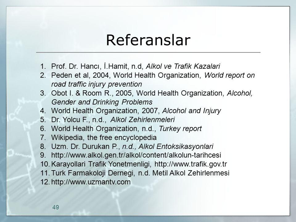 Referanslar Prof. Dr. Hancı, İ.Hamit, n.d, Alkol ve Trafik Kazalari