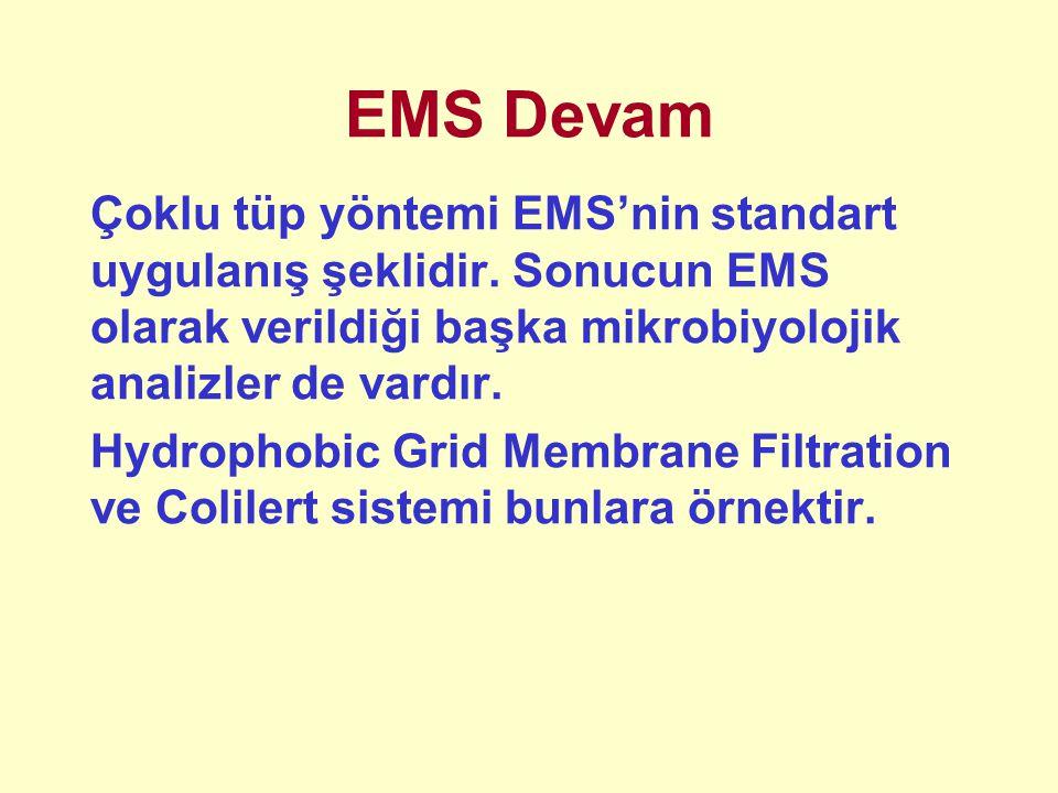 EMS Devam Çoklu tüp yöntemi EMS'nin standart uygulanış şeklidir. Sonucun EMS olarak verildiği başka mikrobiyolojik analizler de vardır.