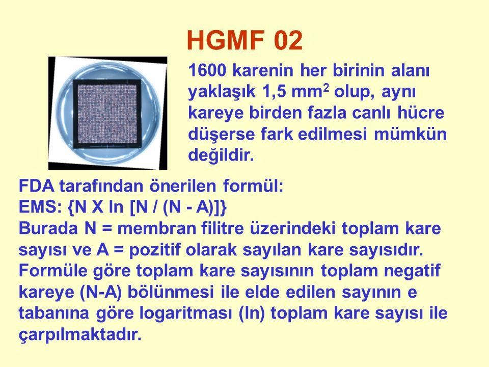 HGMF 02 1600 karenin her birinin alanı yaklaşık 1,5 mm2 olup, aynı kareye birden fazla canlı hücre düşerse fark edilmesi mümkün değildir.