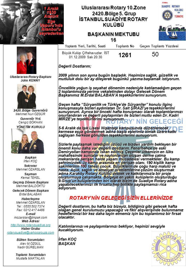 1261 50 Uluslararası Rotary 10.Zone 2420.Bölge 5. Grup