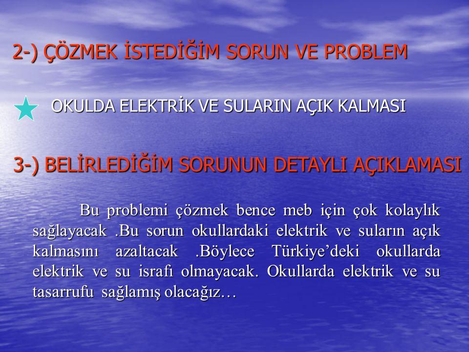 2-) ÇÖZMEK İSTEDİĞİM SORUN VE PROBLEM