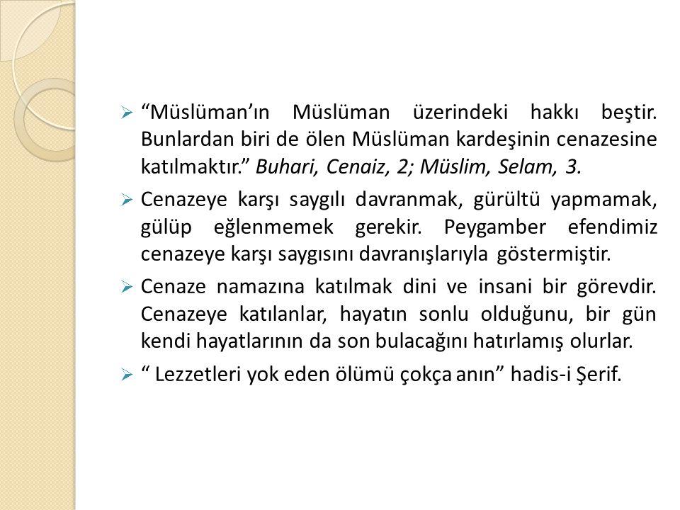 Müslüman'ın Müslüman üzerindeki hakkı beştir