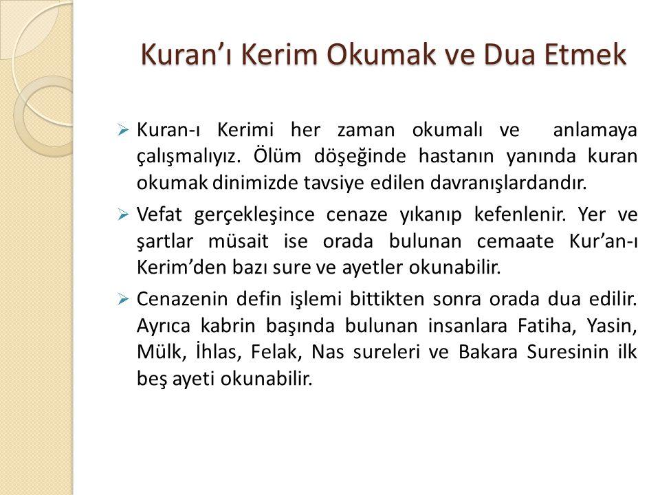 Kuran'ı Kerim Okumak ve Dua Etmek