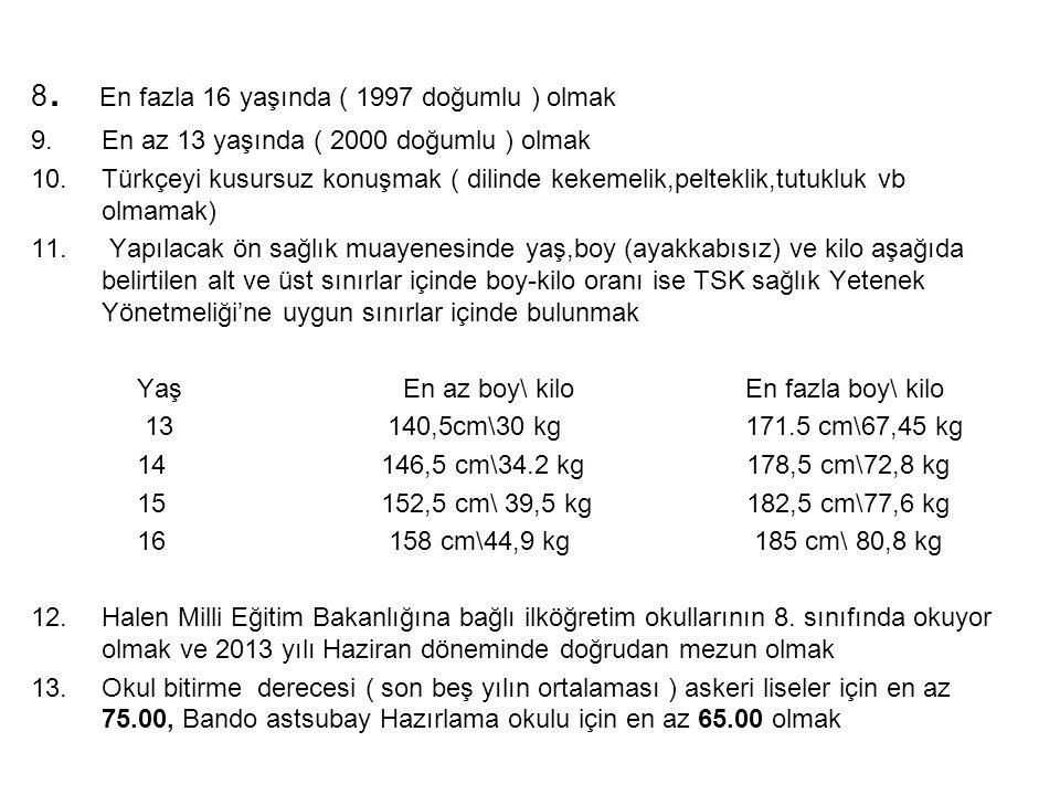 8. En fazla 16 yaşında ( 1997 doğumlu ) olmak