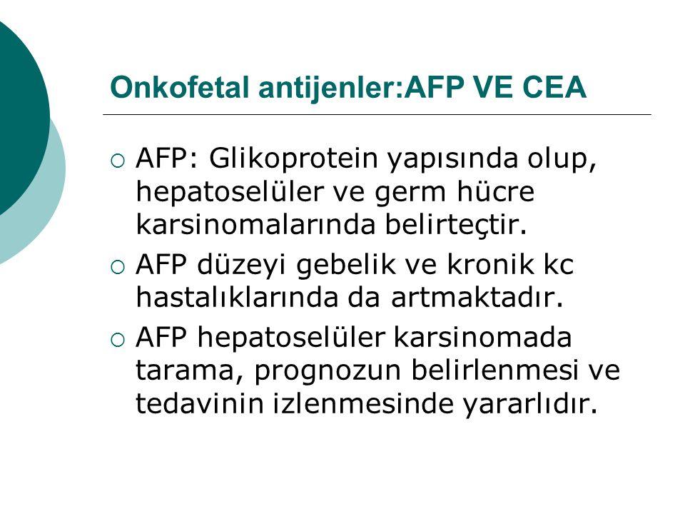 Onkofetal antijenler:AFP VE CEA