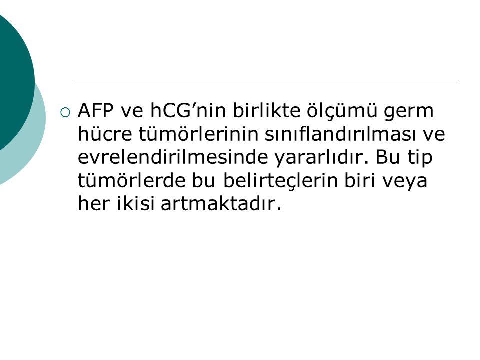 AFP ve hCG'nin birlikte ölçümü germ hücre tümörlerinin sınıflandırılması ve evrelendirilmesinde yararlıdır.