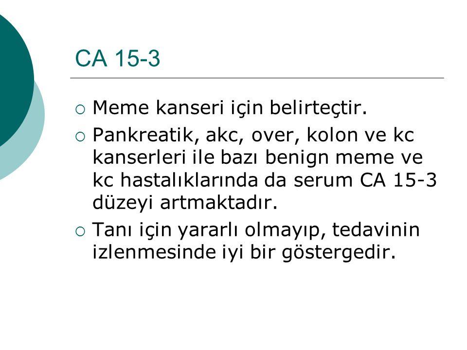 CA 15-3 Meme kanseri için belirteçtir.