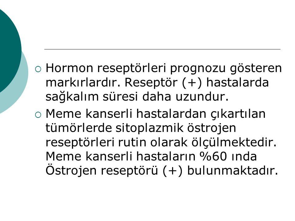 Hormon reseptörleri prognozu gösteren markırlardır