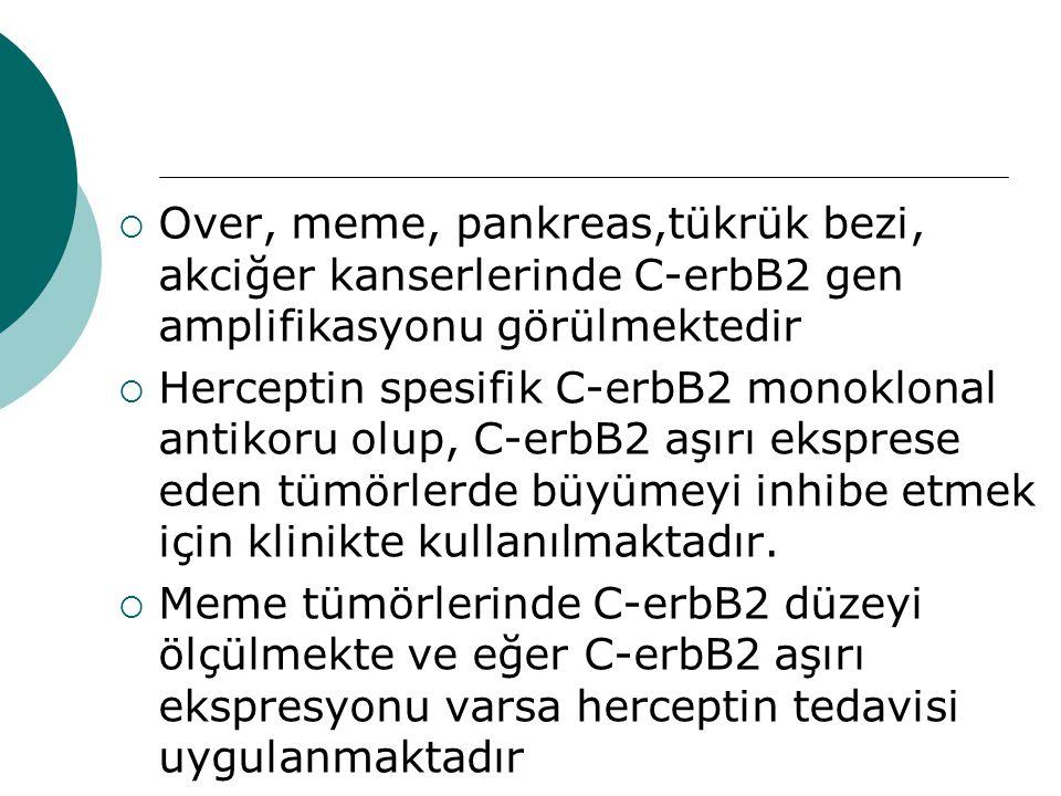 Over, meme, pankreas,tükrük bezi, akciğer kanserlerinde C-erbB2 gen amplifikasyonu görülmektedir
