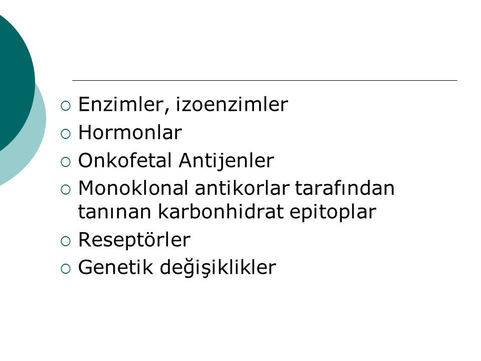 Enzimler, izoenzimler Hormonlar. Onkofetal Antijenler. Monoklonal antikorlar tarafından tanınan karbonhidrat epitoplar.