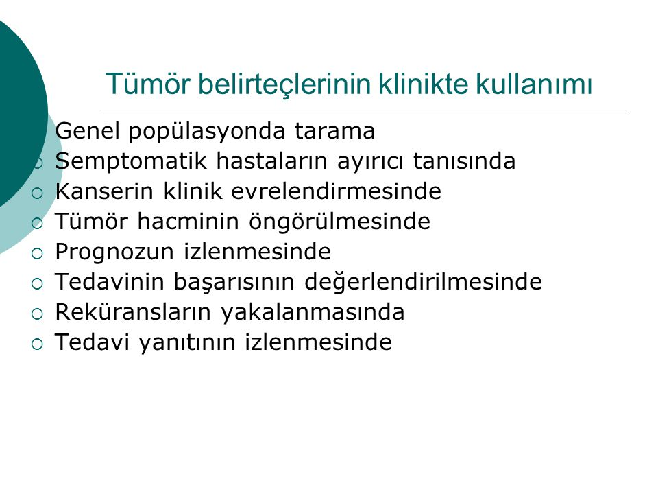 Tümör belirteçlerinin klinikte kullanımı