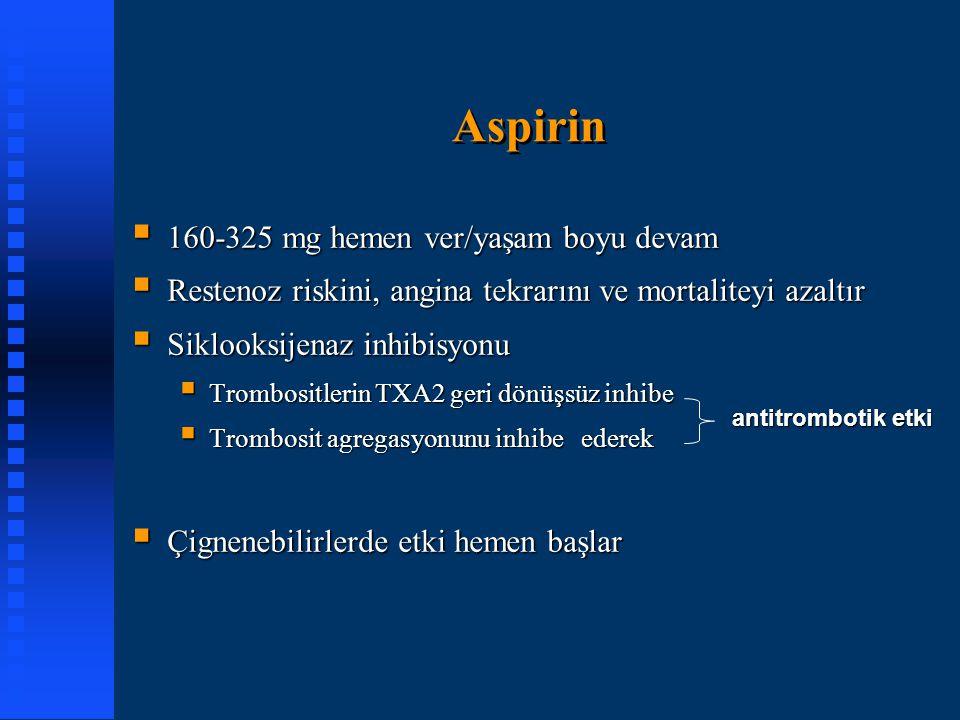 Aspirin 160-325 mg hemen ver/yaşam boyu devam