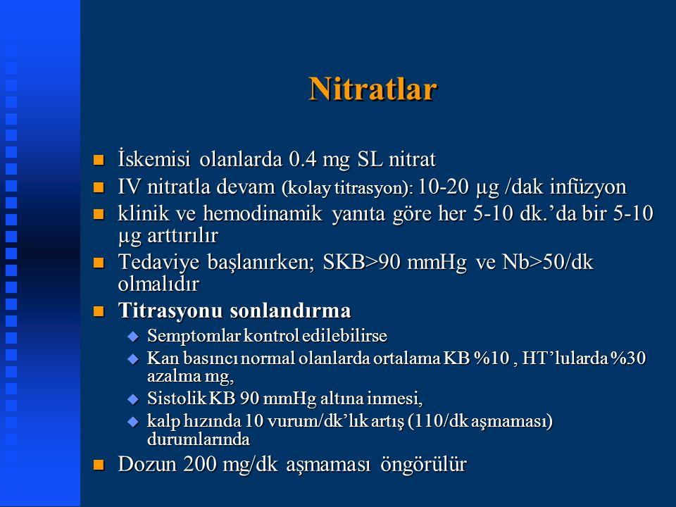 Nitratlar İskemisi olanlarda 0.4 mg SL nitrat